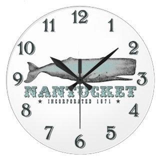 クジラのNantucket MA株式会社1671の柱時計 ラージ壁時計