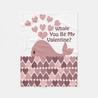 クジラ私のバレンタインです フリースブランケット