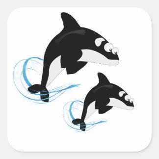 クジラ 正方形シール