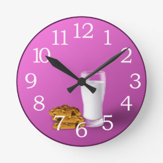 クッキーおよびミルクの柱時計 ラウンド壁時計