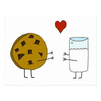 クッキーおよびミルクの郵便はがき ポストカード