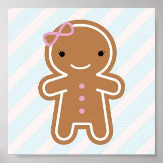 クッキーのかわいいかわいいのジンジャーブレッドの女の子 ポスター