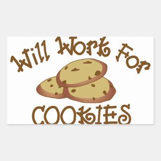 クッキーのために働きます 長方形シール