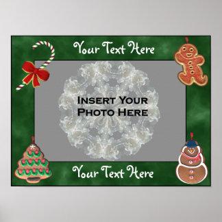 クッキーのキャンディ・ケーンの休日フレームは写真ポスターを加えます ポスター