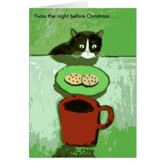クッキーのクリスマスカードを持つ猫 カード