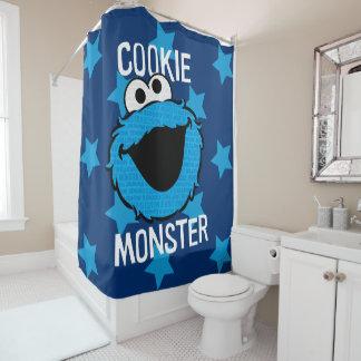 クッキーモンスターパターン顔 シャワーカーテン