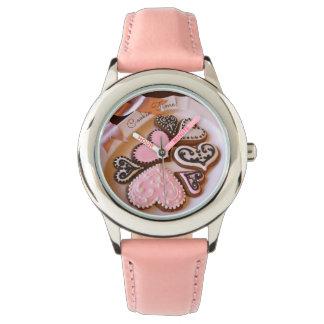 """""""クッキー時間!"""" ジンジャーブレッドのクッキーのハートの腕時計 腕時計"""