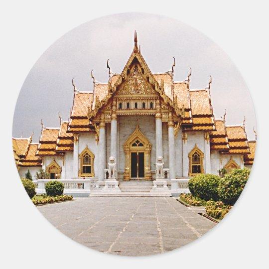 クメール王国のライオンのステッカーのラベル上の金ゴールドの大理石の寺院 ラウンドシール