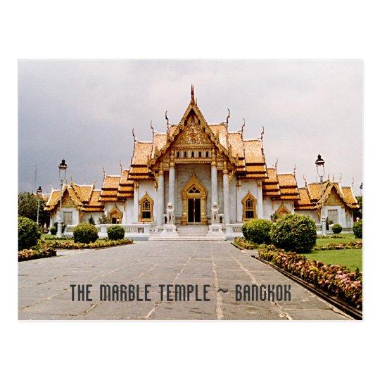 クメール王国のライオンのバンコクカード上の金ゴールドの大理石の寺院 ポストカード
