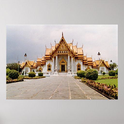 クメール王国のライオンポスター上の金ゴールドの大理石の寺院 プリント