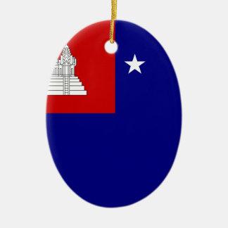 クメール王国共和国(សាធារណរដ្ឋខ្មែរ)の旗 セラミックオーナメント