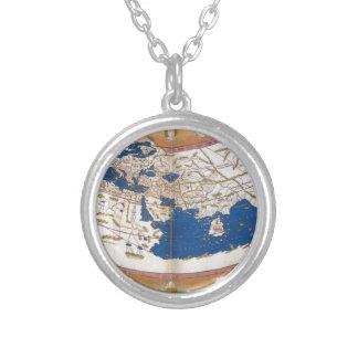 クラウディオス・プトレマイオスの世界地図 シルバープレートネックレス