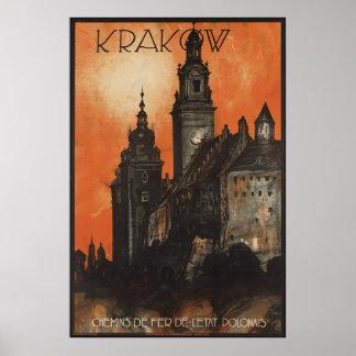 クラクフのヴィンテージ旅行ポスター広告のレトロのプリント プリント