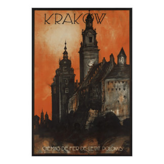 クラクフのヴィンテージ旅行ポスター広告のレトロのプリント ポスター