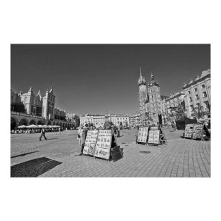 クラクフの主要な市場が開かれる広場、ポーランドの壁ポスター ポスター