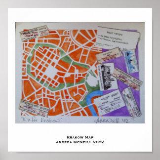 クラクフの地図ポスター ポスター