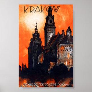 クラクフポーランドのヴィンテージ旅行ポスター ポスター