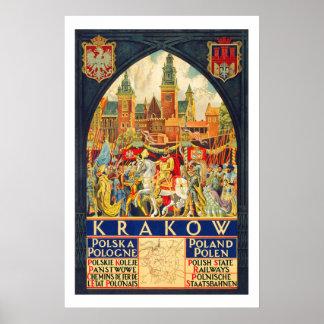 クラクフポーランドのヴィンテージ旅行 ポスター
