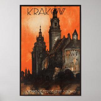 クラクフポーランド-ヴィンテージのポーランド人旅行ポスター ポスター