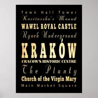 クラクフ、ポーランドの魅力及び有名な場所 ポスター