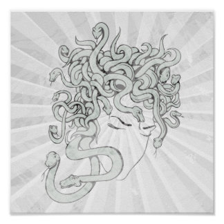 クラゲのヘビの女性ベクトルイラストレーション ポスター