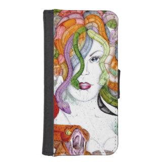 クラゲのヘビの毛の女性の魔法使いの水彩画 iPhoneSE/5/5sウォレットケース