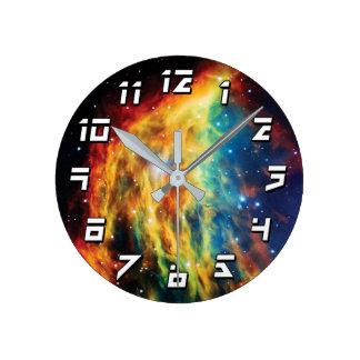 クラゲの星雲のハッブルの宇宙の写真 ラウンド壁時計