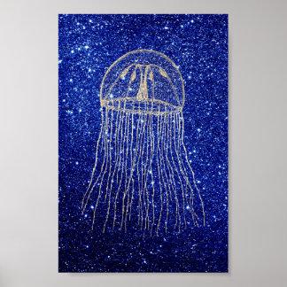 クラゲの海の海のよりずるい金ゴールドの水の濃紺のビーチ ポスター