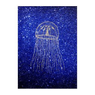 クラゲの海洋生物のオーシャンブルー海軍金よりずるい アクリルウォールアート