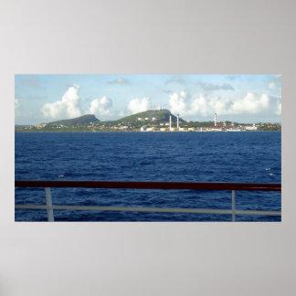 クラサオ島の海岸線 ポスター