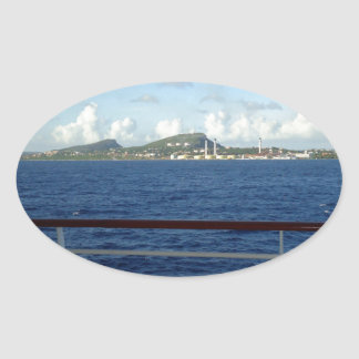 クラサオ島の海岸線 楕円形シール