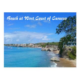 クラサオ島の西海岸の郵便はがきのビーチ ポストカード