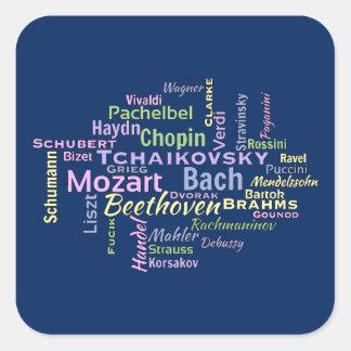 クラシカルな作曲家の単語の雲 正方形シールステッカー