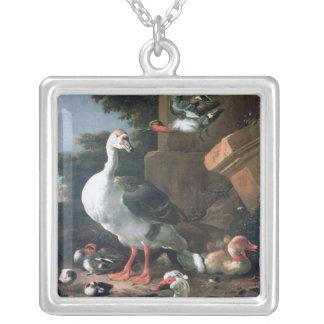 クラシカルな景色の水鳥、17世紀 シルバープレートネックレス
