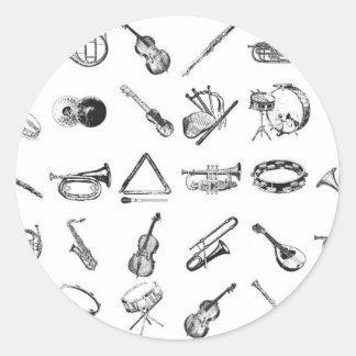 クラシカルな楽器のコレクション ラウンドシール