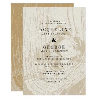クラシックでモダンで素朴な木製の秋の結婚式の招待 カード