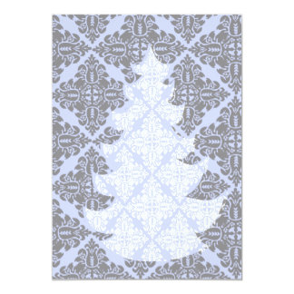 クラシックでモダンなダマスク織パターンクリスマスツリー カード