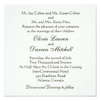 クラシックで伝統的な結婚式招待状 カード