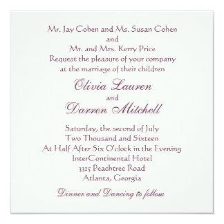 クラシックで伝統的な結婚式招待状-紫色 カード