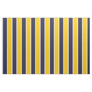 クラシックで大きくはっきりしたで黄色く青い白のストライプパターン ファブリック