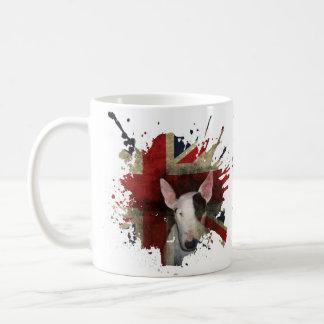 クラシックで白いマグの英国のブルテリアの英国国旗 コーヒーマグカップ
