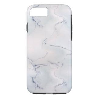 クラシックで白い大理石の地質学の石のピンクの暗藍色 iPhone 7ケース