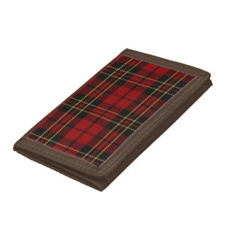 クラシックで赤いタータンチェックの三重ナイロン財布 ナイロン三つ折りウォレット