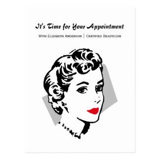 クラシックで赤い唇の女性のサロンのアポイントメントのメモ ポストカード