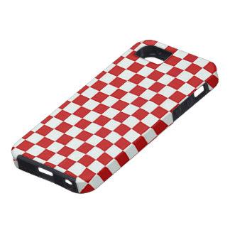 クラシックで赤く及び白いチェッカーボードパターン iPhone SE/5/5s ケース