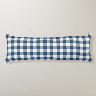 クラシックで青いギンガムパターン抱き枕 ボディピロー