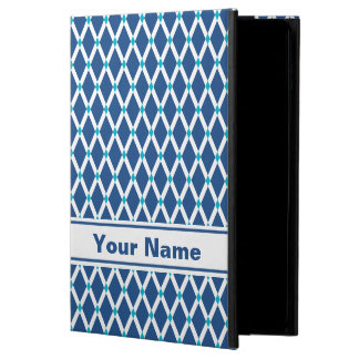 クラシックで青いダイヤモンド白のフレームのiPadの箱 Powis iPad Air 2 ケース