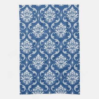 クラシックで青いダマスク織パターン キッチンタオル