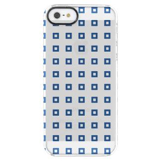 クラシックで青い正方形パターン クリア iPhone SE/5/5sケース