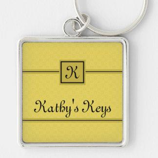 クラシックで黄色および黒く名前入りなKeychain キーホルダー